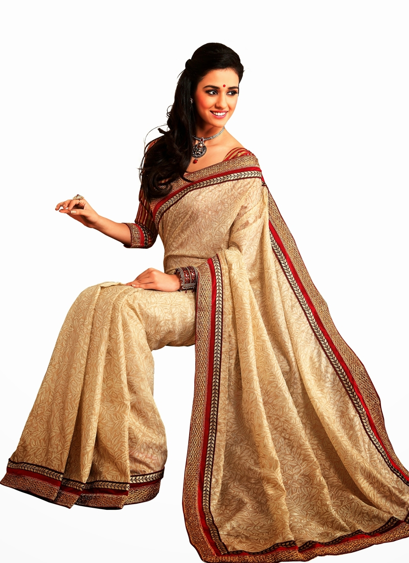Dainty Beige Color Lace Work Casual Saree
