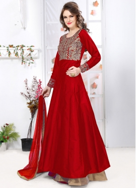 Dainty  Embroidered Work Long Length Designer Suit For Festival