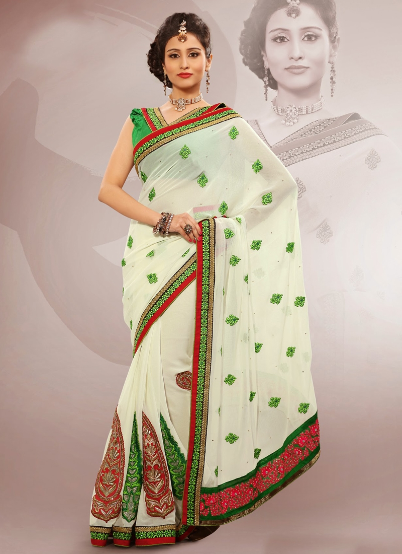 Dainty Lace And Stone Work Party Wear Saree