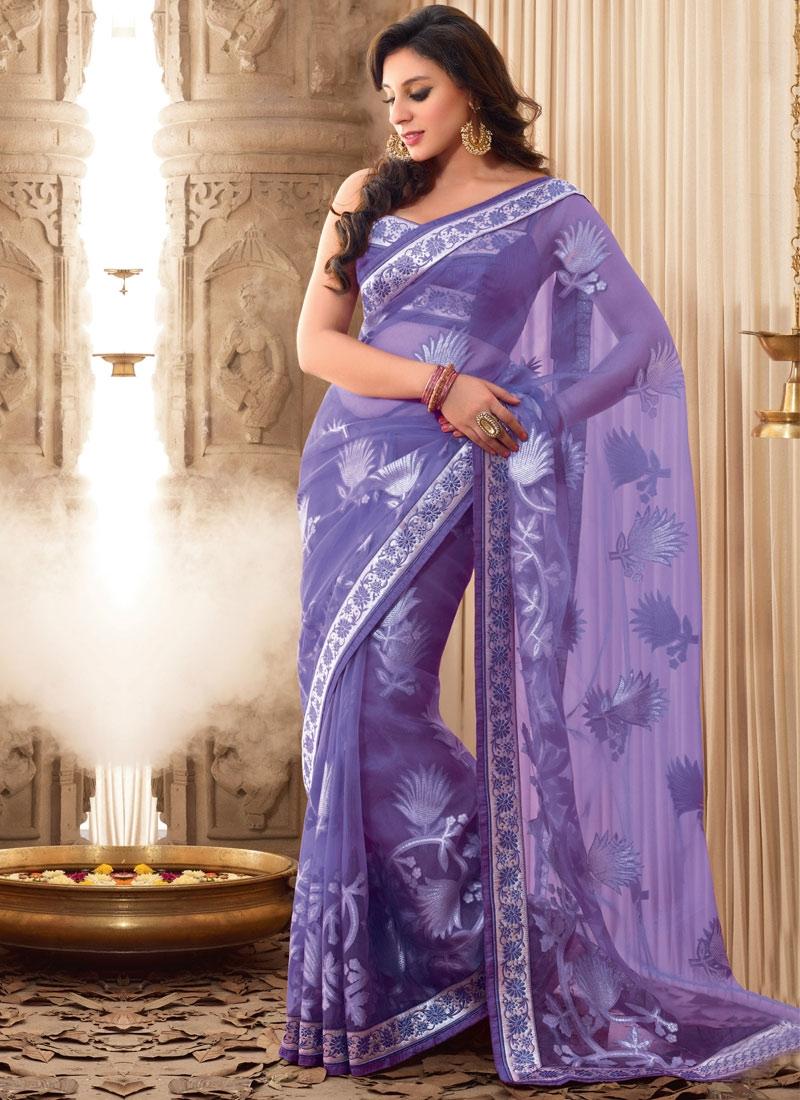 Dainty Lavender Color Party Wear Saree