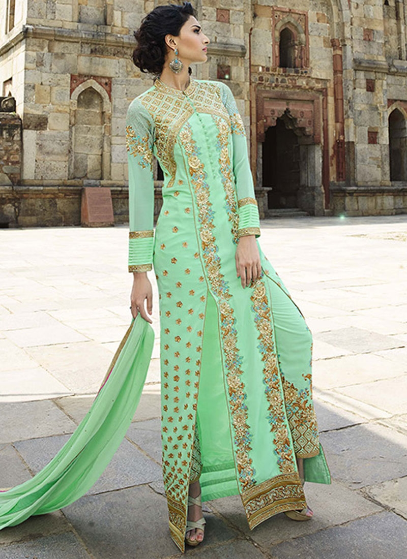 Dainty Mint Green Color Pant Style Designer Salwar Suit