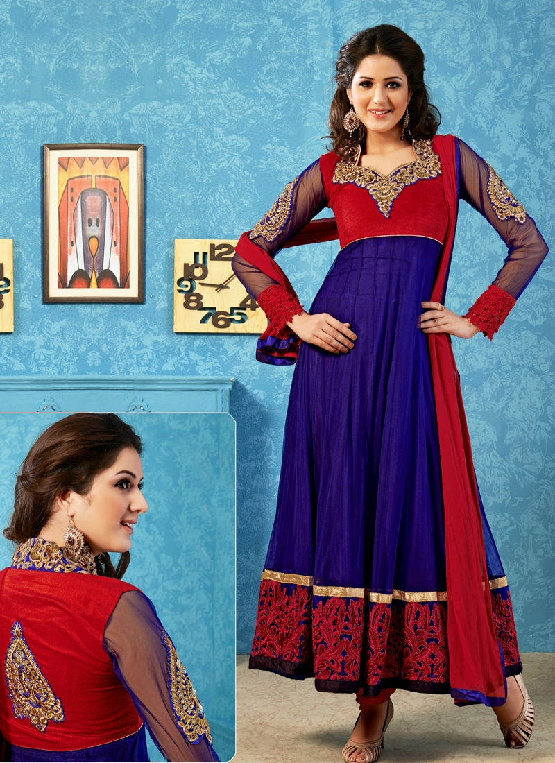 Dainty Patch And Resham Work Anarkali Suit