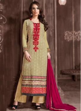 Dainty Patch Border Work Palazzo Style Pakistani Suit