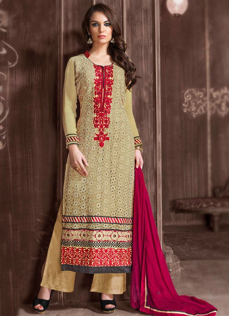 Dainty Patch Border Work Palazzo Style Pakistani Suit