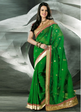 Dainty Patch Enhanced Net Party Wear Saree