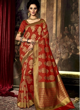 Dashing Art Raw Silk Resham Work Contemporary Saree