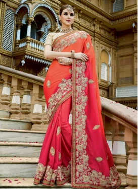 Dashing Beads Work Chiffon Satin Rose Pink and Tomato Classic Designer Saree For Bridal