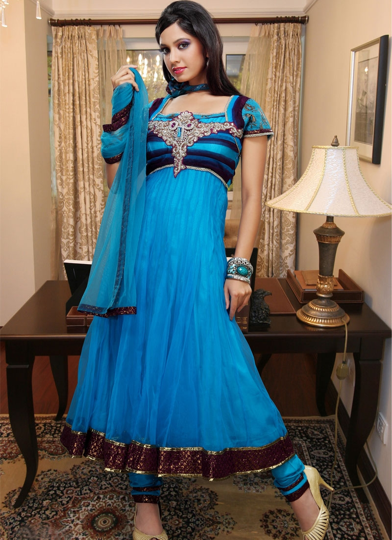 Dashing Blue And Teal Net Anarkali Salwar Kameez