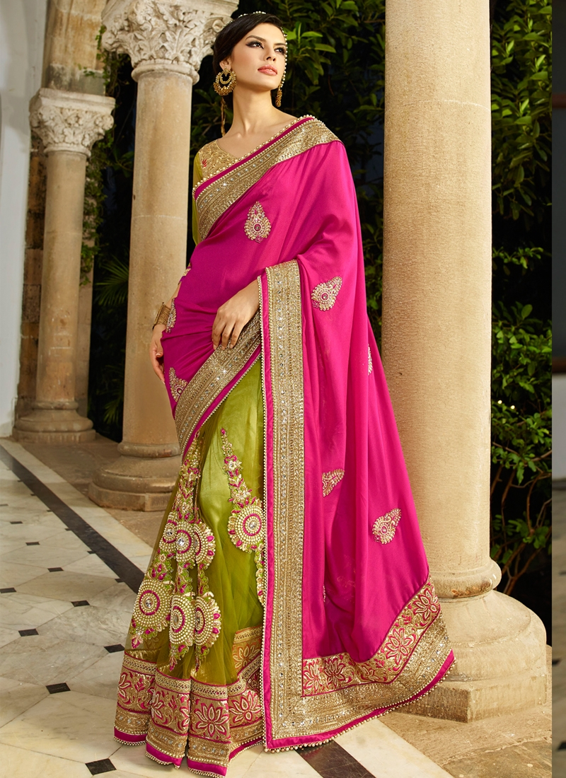 Dashing Booti And Stone Work Half N Half Bridal Saree