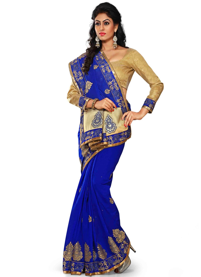Dashing Booti Work Blue Color Designer Saree