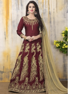 Dashing Embroidered Work Anarkali Salwar Suit