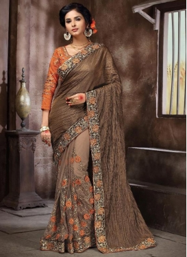 Dashing  Embroidered Work Half N Half Designer Saree For Festival