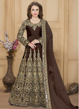 Dashing Embroidered Work  Long Length Anarkali Suit