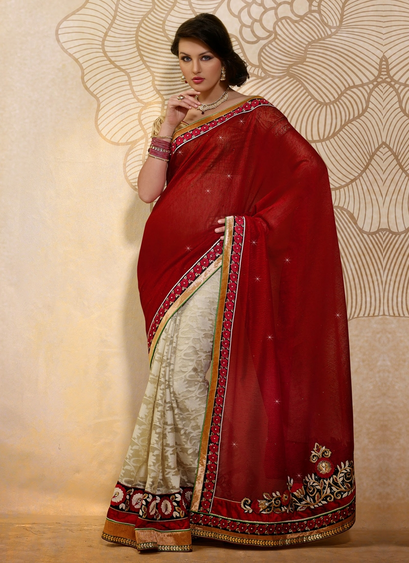 Dashing Floral And Patch Work Half N Half Saree