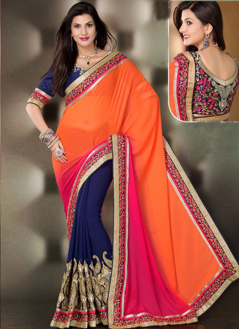 Dashing Kasab And Lace Work Half N Half Party Wear Saree