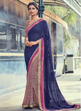 Dashing Lace Work Half N Half Saree