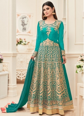 Dashing Mouni Roy Long Length Anarkali Suit For Festival