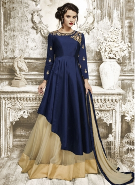 Dashing Net Embroidered Work Designer Kameez Style Lehenga