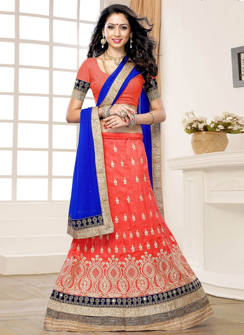 Dashing Patch Border Work Salmon Color Wedding Lehenga Choli