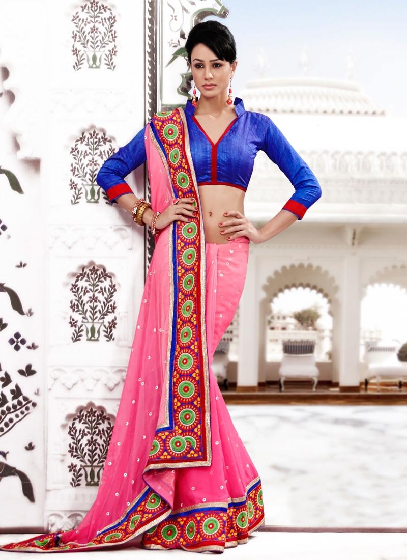Dashing Pink Color Resham Work Party Wear Saree