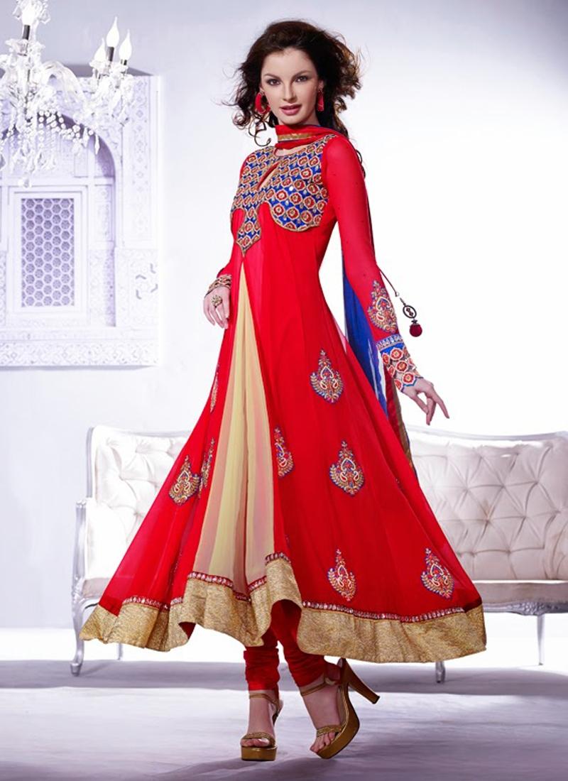 Dashing Red Color Designer Salwar Kameez