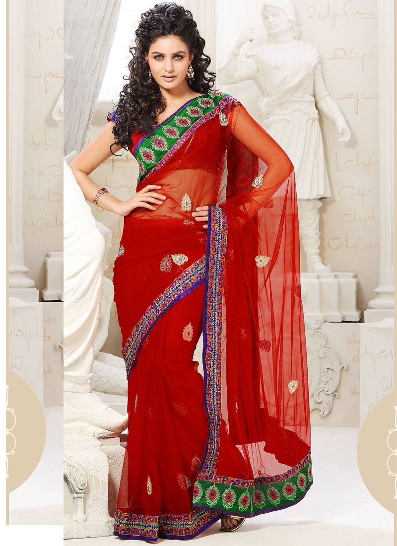 Dashing Red Color Net Casual Saree