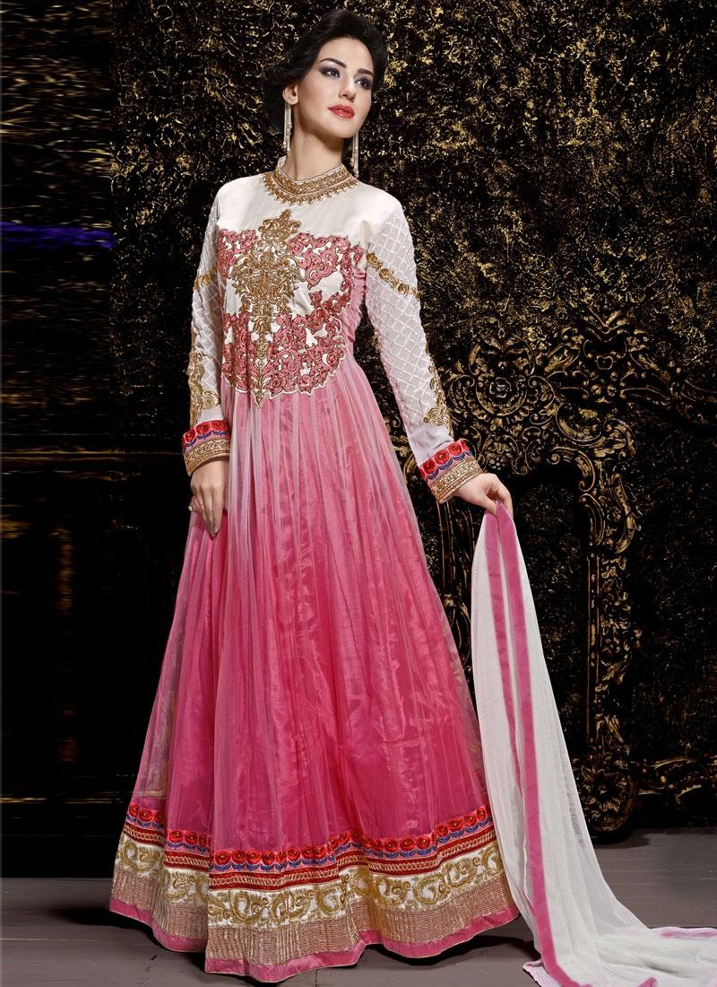 Dashing Resham Work Net Long Length Anarkali Suit