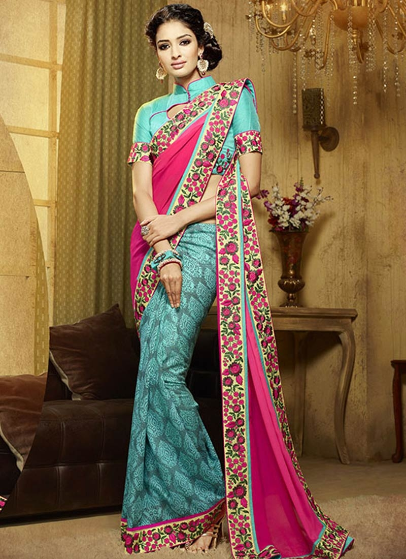 Dashing Satin And Faux Georgette Half N Half Party Wear Saree