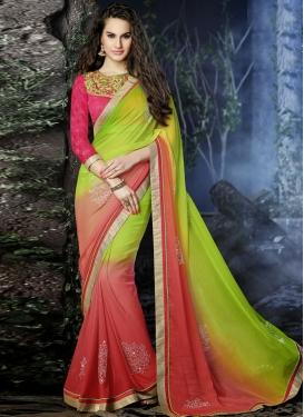Dashing Stones And Lace Work Chiffon Designer Saree