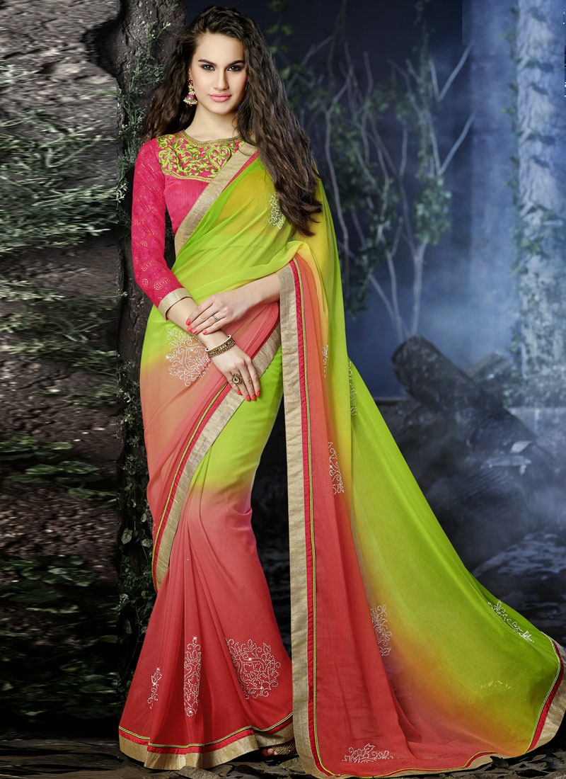 Dashing Stones And Lace Work Chiffon Designer Saree