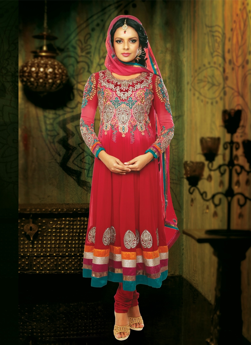 Dashing Velvet Work Anarkali Salwar Kameez