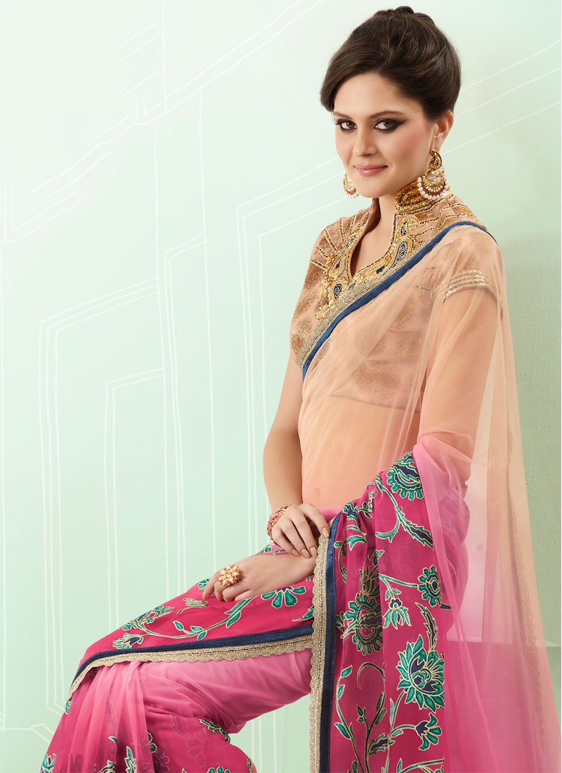 Dazzling Beige And Rose Pink Color Net Saree