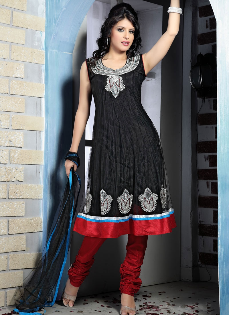 Dazzling Black And Red Net Anarkali Suit