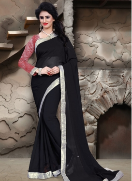 Dazzling Black Color Lace Work Casual Saree