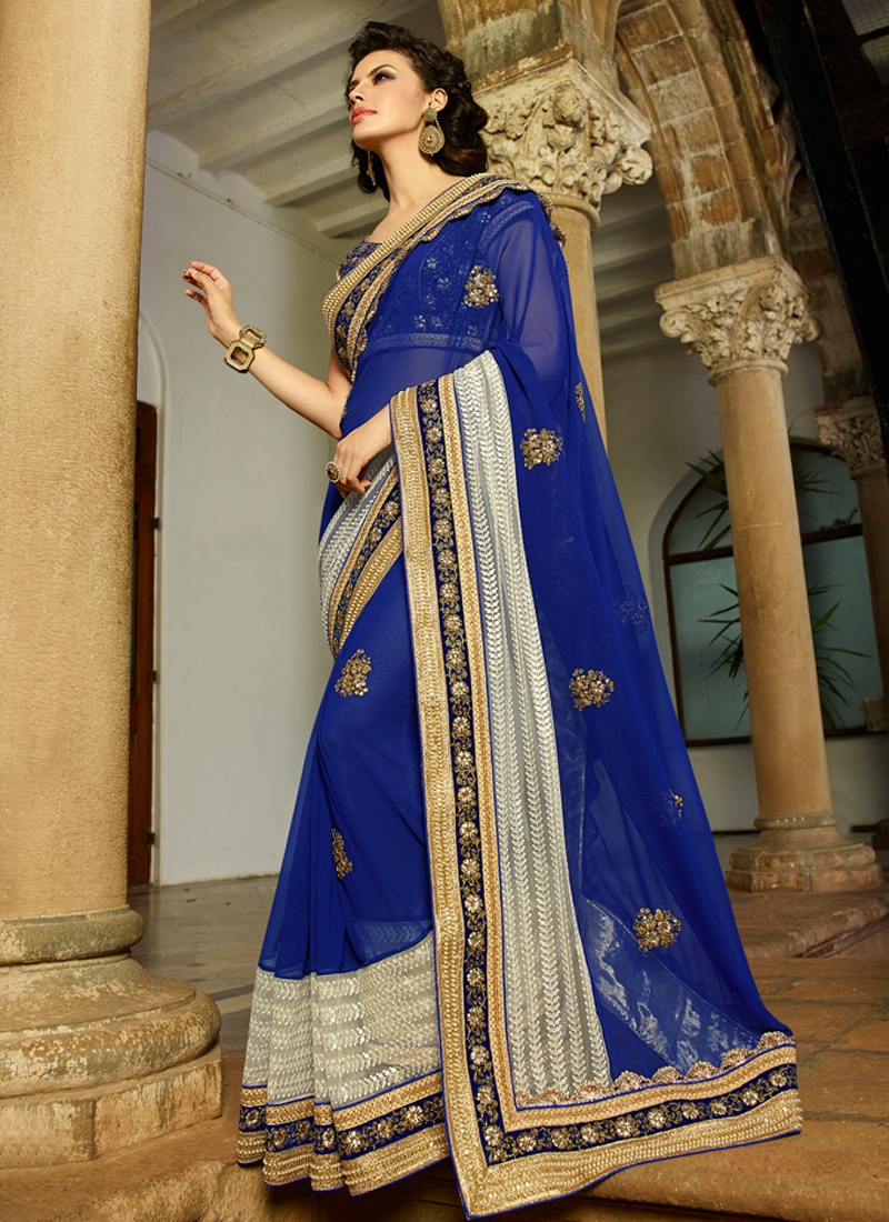 Dazzling Blue Color Pure Georgette Wedding Saree