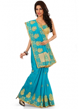 Dazzling Booti Work Chanderi Silk Party Wear Saree