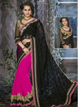 Dazzling Brasso And Faux Georgette Half N Half Wedding Saree