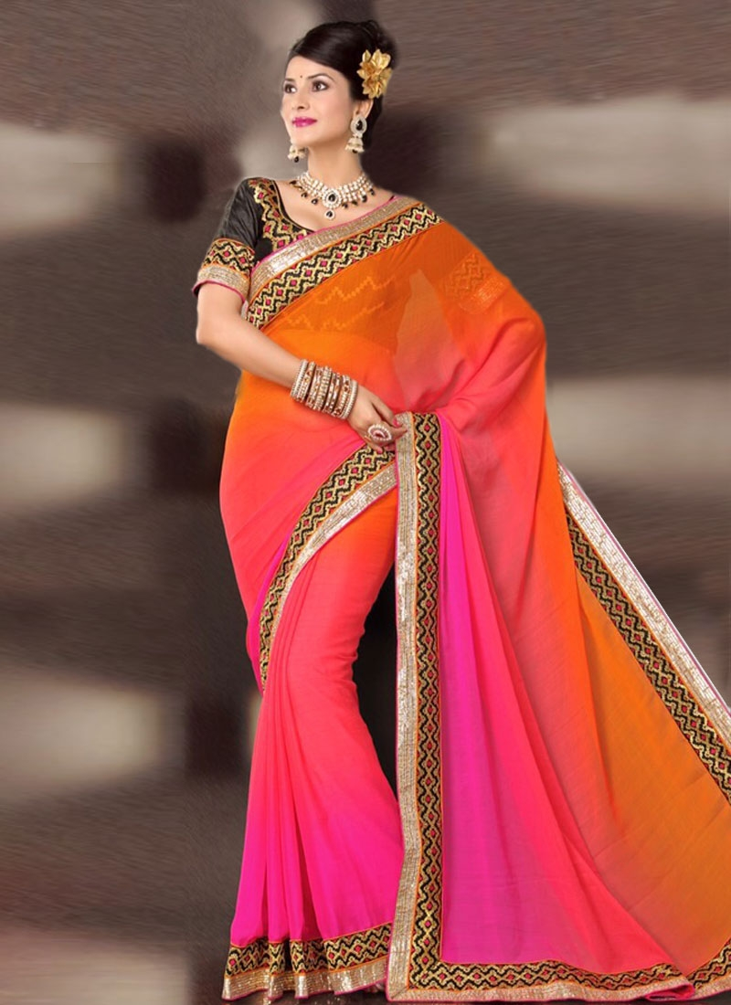 Dazzling Coral And Rose Pink Color Party Wear Saree