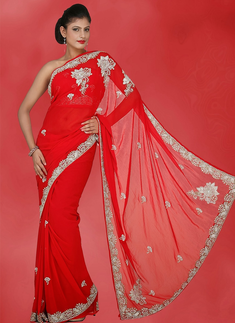 Dazzling Faux Georgette Red Bridal Saree