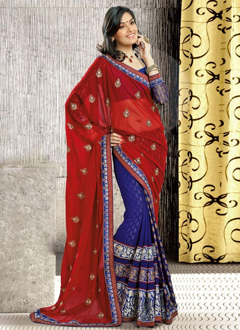Dazzling Floral Enhanced Half N Half Saree