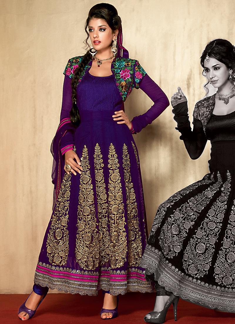 Dazzling Floral Purple Salwar Suit