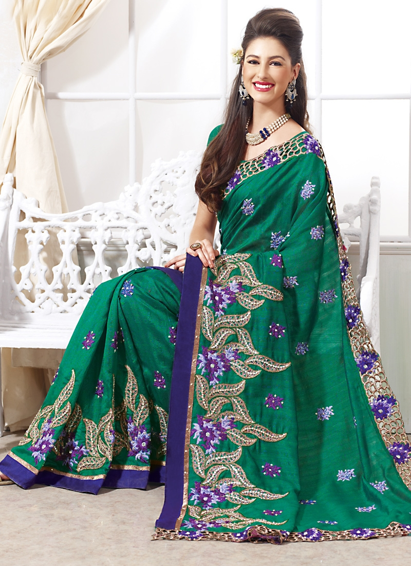 Dazzling Green And Navy Blue Color Saree