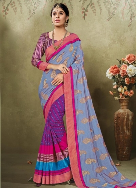 Dazzling  Grey and Purple Block Print Work Half N Half Saree