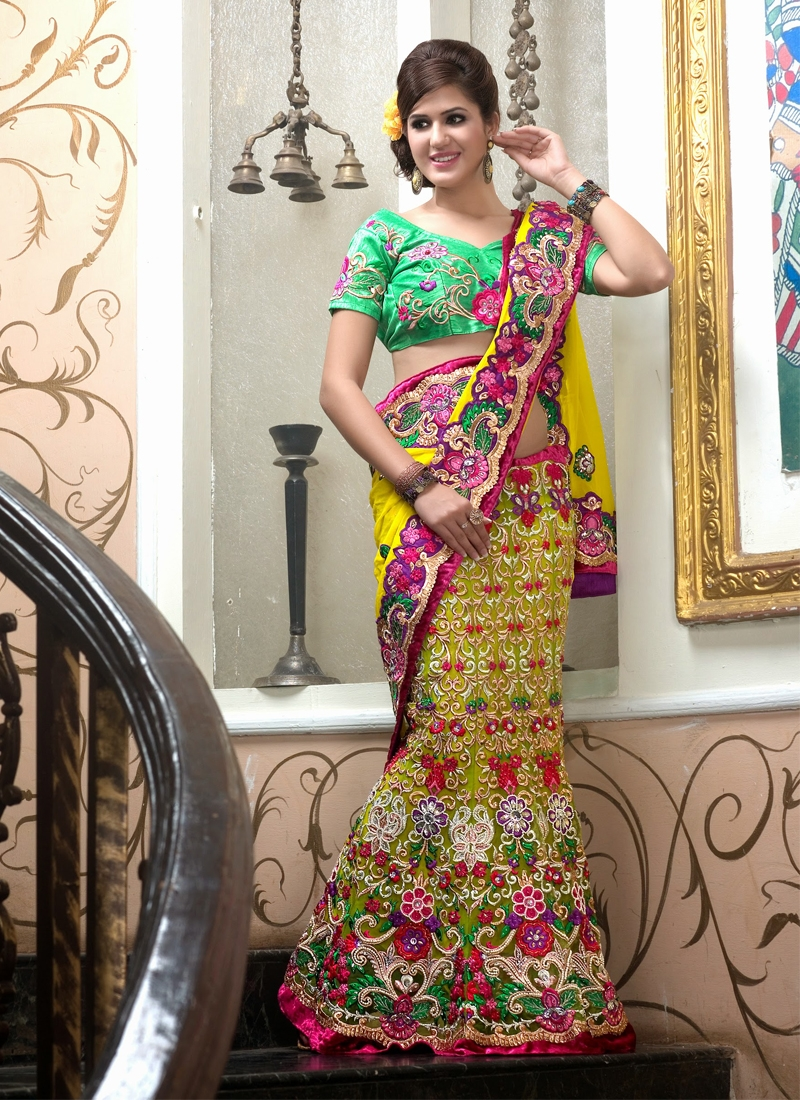 Dazzling Jaal And Resham Enhanced Lehenga Saree