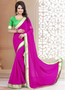 Dazzling Lace And Resham Work Casual Saree
