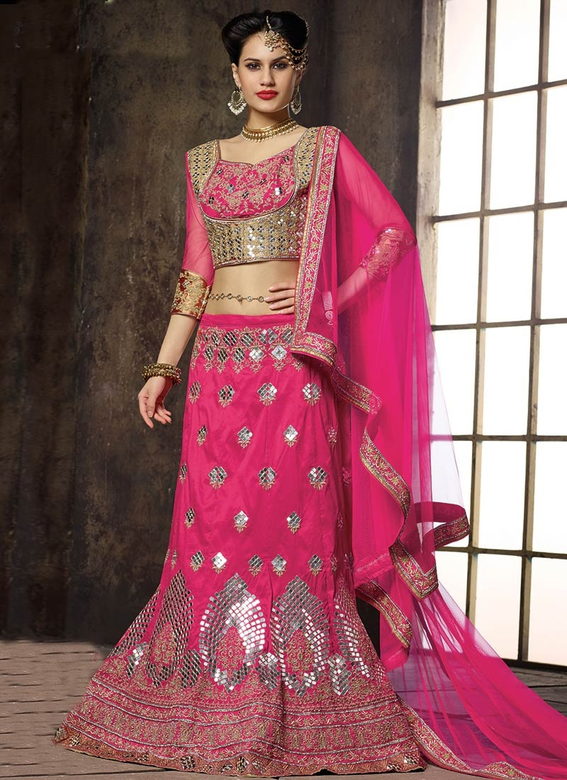 Dazzling Mirror Work Wedding Lehenga Choli