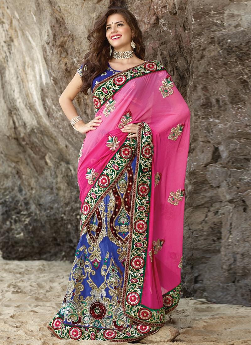 Dazzling Multi And Beads Work Lehenga Saree