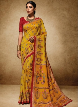 Dazzling Mustard and Red Traditional Saree For Festival