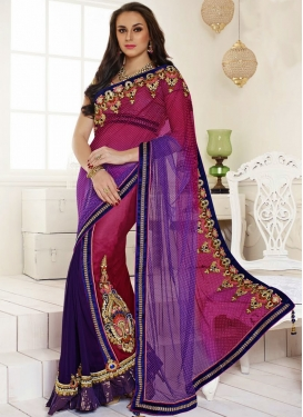 Dazzling Patch And Resham Work Designer Saree