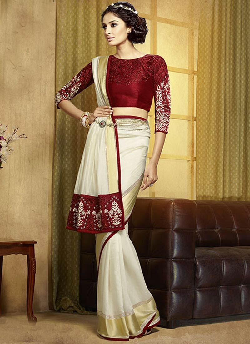 Dazzling Patch Border Work Party Wear Saree